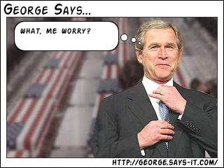 George W. Bush fixing his tie, thinking 'What, me worry?' in front of a backdrop of flag-draped coffins