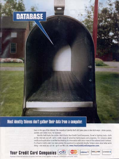 Your Credit Card Companies remind you most identity theft comes from mailboxes