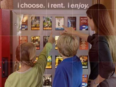 Kids and mom point to 'Kinsey' cover in Redbox kiosk