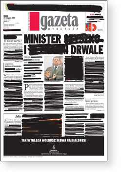 Gazeta front page, with black marks obscuring some stories