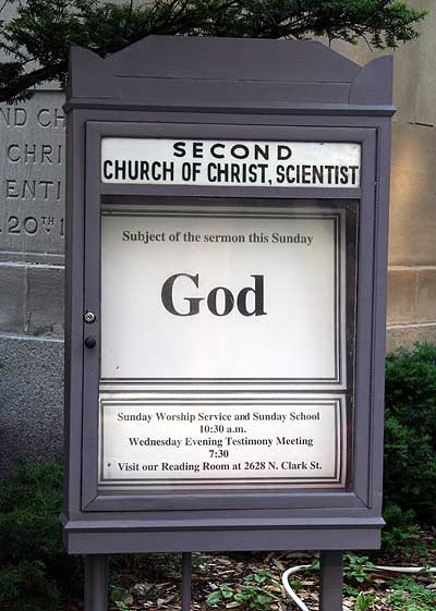 church sign with message: 'subject of today's sermon: God'