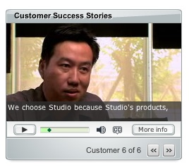 man speaking with subtitles in video player