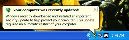 Windows info bubble mentioning an automatic update