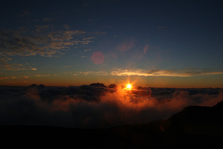 sunrise, viewed from a volcano