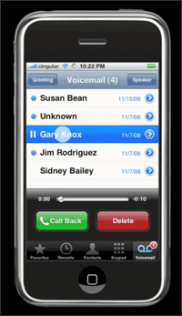 iPhone, shown on the voicemail menu